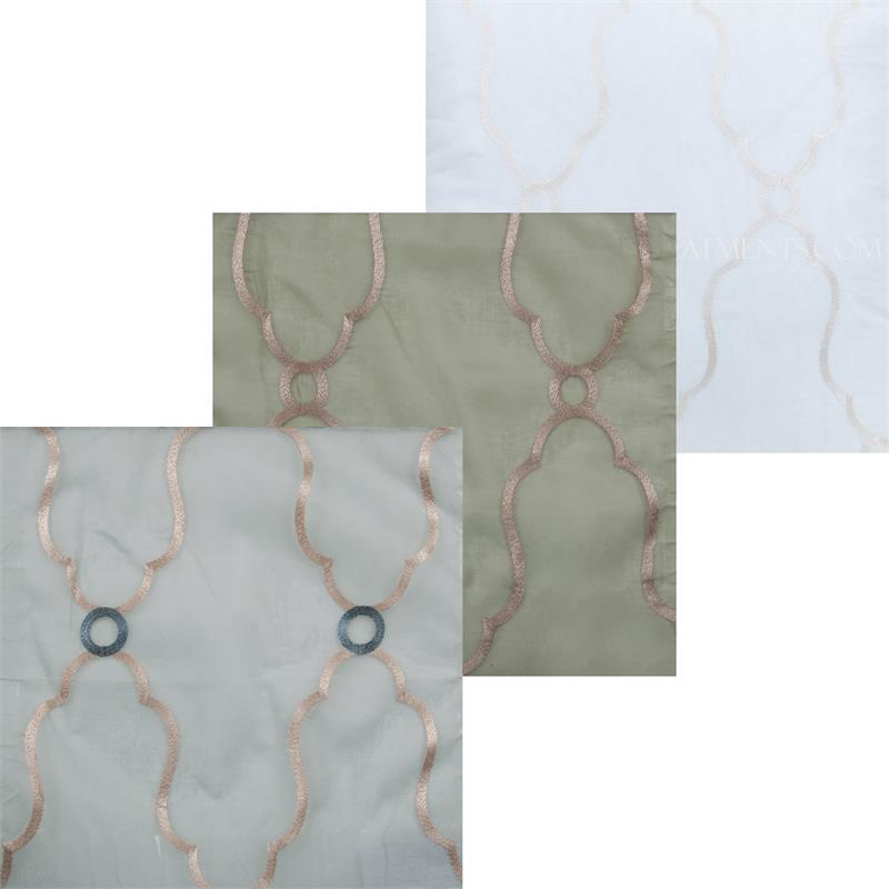 Violin Embroidered Sheer Cotton Sheer Fabric By The Yard Best Window Treatments