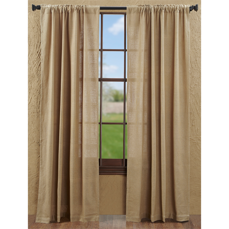 Burlap Natural Curtains with tie backs : www.bestwindowtreatments.com
