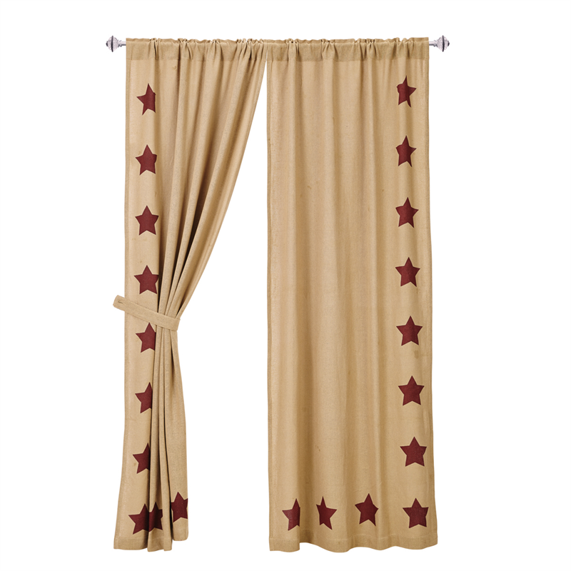 Burlap Red Star Curtains with tie backs : www.bestwindowtreatments.com