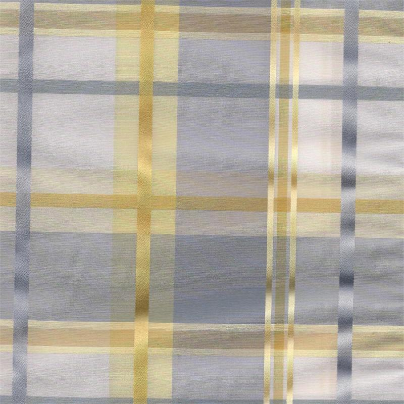 Cologne Plaid Faux Silk Fabric In Fog Pastel Blue And Gold Yellow And Cream Color Custom