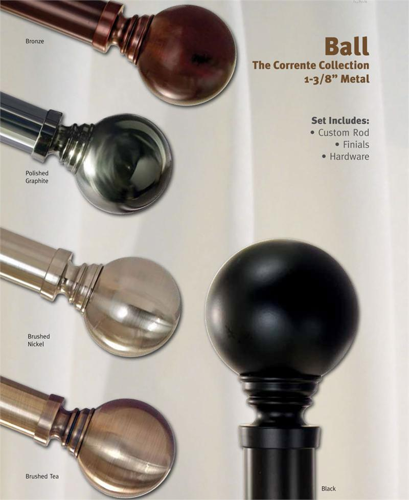 Corrente Ball 1 3 8 Custom Metal Curtain Rod Extra Long Available