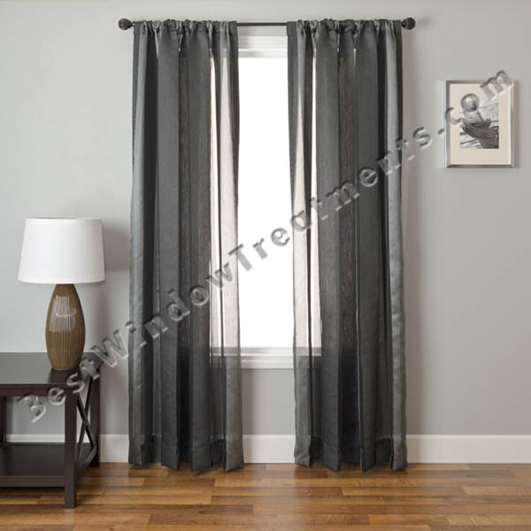 Hutch Stripe Semi Sheer Curtain Drapery Panels | BestWindowTreatments ...