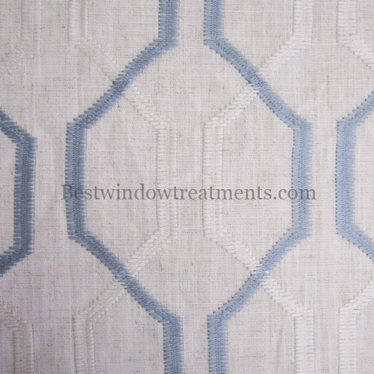 Maxwell Stitched Linen Swatch White Blue