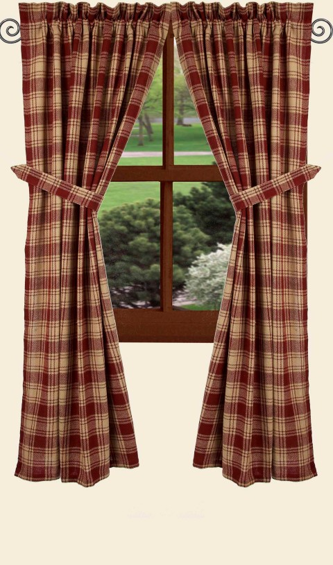 Millbrook Check Barn Red Prairie 63 Quot Curtains