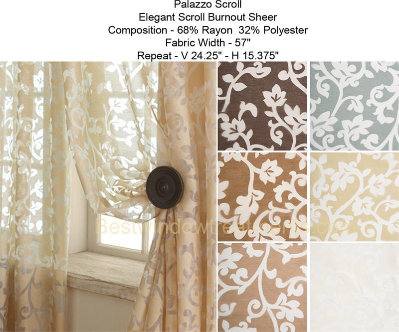 Palazzo Scroll Burnout Sheer Curtain Panel