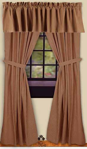 York Ticking Red 86 Quot Curtains