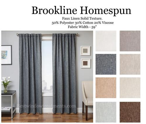 Brookline Homespun Linen with Blackout Lining and Grommets option