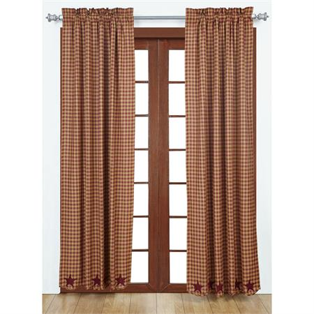 Burgundy Applique Star Curtains (pair)