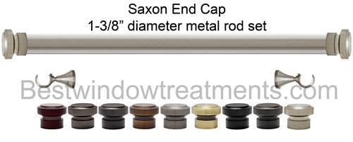 Saxon End Cap 1 3 8 Quot Dia Custom Metal Curtain Rod Set
