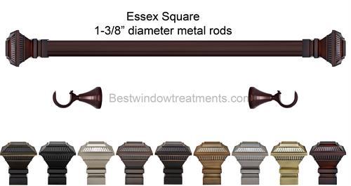 Essex Square 1 3 8 Quot Dia Custom Metal Curtain Rod Set