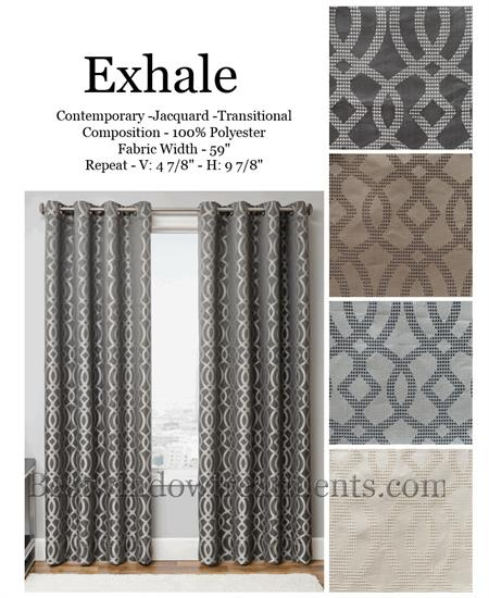 Exhale Modern Silk Curtains in grey, chocolate taupe and cream