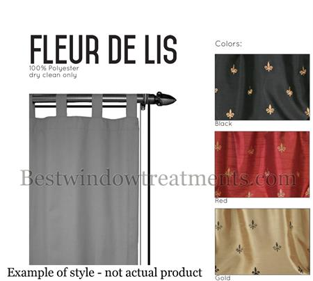 Custom Tab Top Fleur de Lis Curtain Panel - Lined | www ...