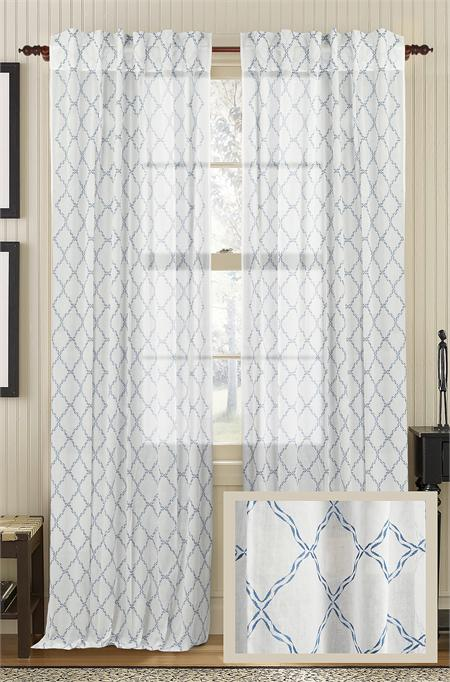 Glorious Embroidered Cotton Sheer Curtain Panel Best Window Treatments