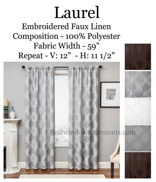 Laurel Embroidered Linen Curtains In Brown, White, Grey, Natural Colors