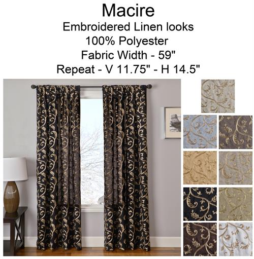 Macire Curtain Panel : Add Lining, Interlining, Blackout : Grommets Or  Back Tabs