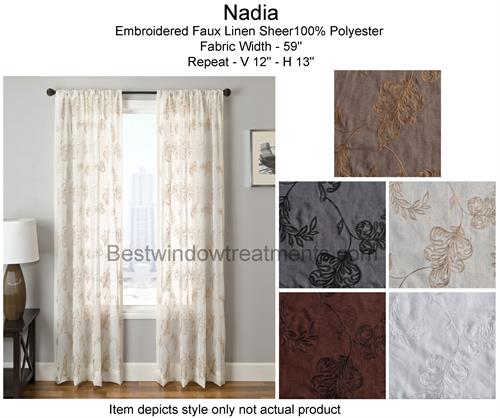 Nadia Semi Sheer Open Weave Linen Curtain Panel Available In 5 Colors