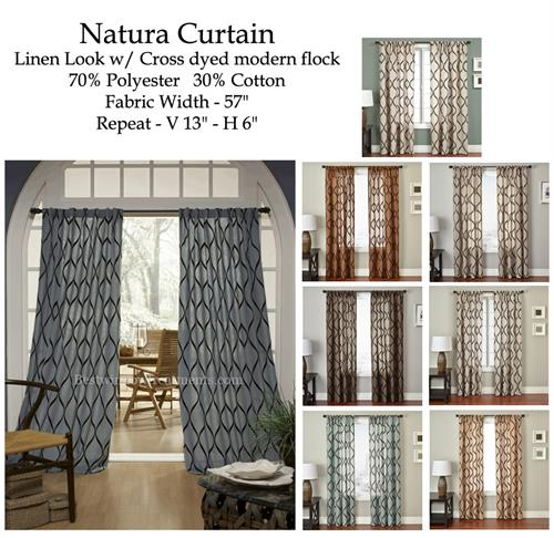 Natura Linen Curtains With Flocked Wave Velvet :Blackout Lining Option
