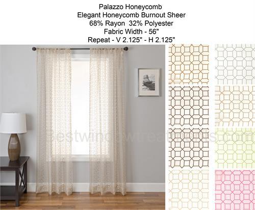 Palazzo Honeycomb Burnout Sheer Curtain Panel