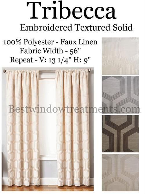 Tribeca Modern Curtains In Cream, Grey, Black, Brown Color: Blackout Lining