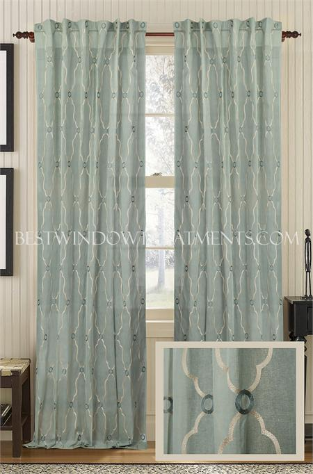 viola embroidered cotton sheer curtain panel - Sheer Curtain Panels