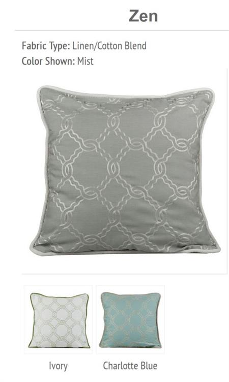Zen Throw Pillows : Zen Embroidered Cotton & Linen Fabric Bestwindowtreatments.com