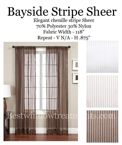 Bayside Stripe Curtain Panel Available In 3 Colors