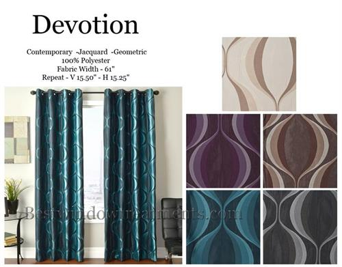 Devotion Curtains in Turquoise, Purple, Chocolate, Ivory or Grey color