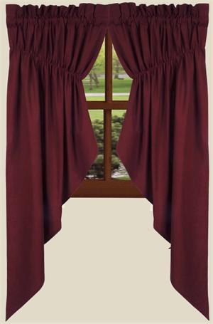 Farm House Solid Prairie Curtains In Barn Red