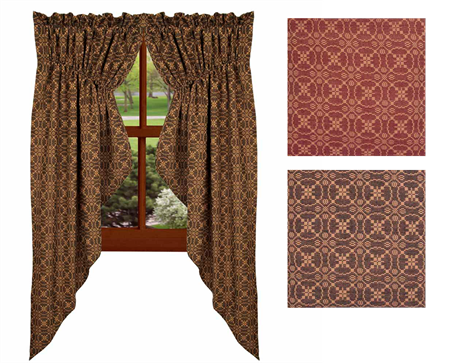 Marshfield Jacquard Gathered Swag Curtains In 2 Colors