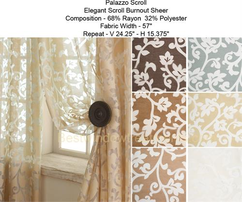 Palazzo scroll burnout sheer curtain panel geometric