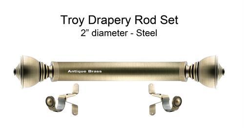 Troy 2 Dia Custom Metal Curtain Rod Set