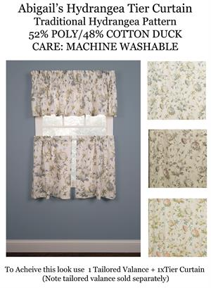 abigail hydrangea tailored tier curtains available in 3 colors - Tier Curtains