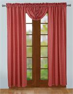 Red gingham plaid curtain