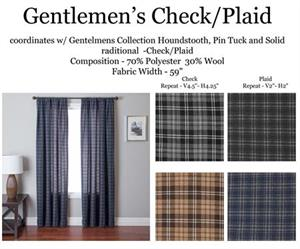 Gentlemen Check PlaidCurtains in gray, blue brown cream color