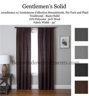 Gentlemen solid Color Wool curtains in black, brown, grey, pewter gray color