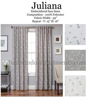 Juliana Embroidered Linen Curtains with options for Extra long 108