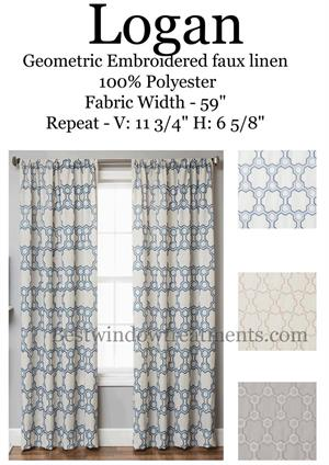 Logan Geometric Tile Linen Curtain Panels in blue, champagne or grey two tone white color