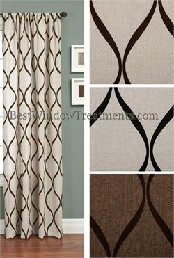 Cross dyed burlap modern flocked Curtains