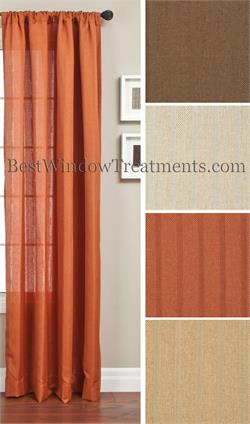 Providence Striped Linen Jacquard with Weave Look Curtains and Drapes
