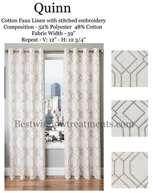Quinn Linen Curtains Geometric Diamond Blackout Lining White Color