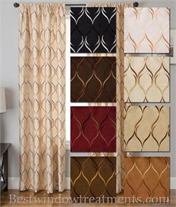 Regis Faux Silk Drapes in Two Tone Wave Pattern : Blackout lining option