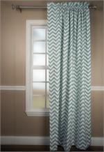 Chevron Curtain in spa blue