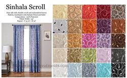 Sinhala Scroll faux silk in bright colors