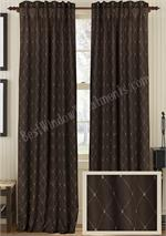 True-chocolate-blue-diamond Drapery in 100%  Linen fabric