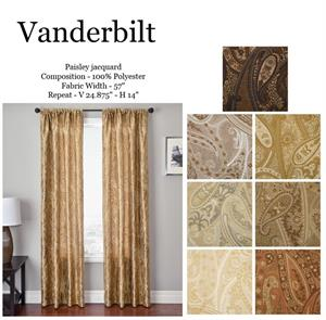 Vanderbilt Paisley Gold Taupe Chocolate Rust Orange Readymade Drapes Blackout Lining Option