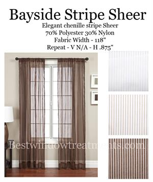 Bayside Stripe Sheer Curtains
