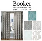 Booker Embroidered Linen Style Curtain
