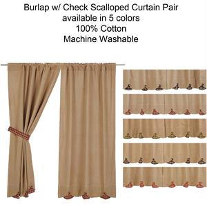 burlap w scallop check curtains pair - 63 Inch Curtains