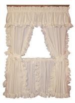 cape cod framed ruffled pairs w ties - 63 Inch Curtains