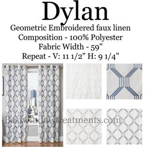 Dylan Linen Curtains : embroidered geometric pattern in grey, blue, white